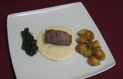 Rinderfilet in Gorgonzola-Soße mit zweierlei Beilagen - Rezept