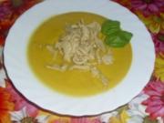 Gelbe Paprika-Cremesuppe mit Hähnchen - Rezept