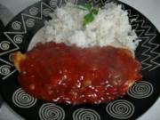Putenschnitzel mit Teufelssauce und Reis - Rezept