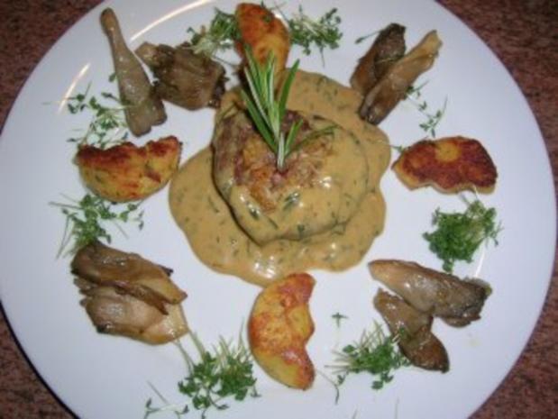 Pochiertes Rinderfilet mit Estragonsauce an Grießplätzchen  (tolles Essen für Gäste) - Rezept - Bild Nr. 2