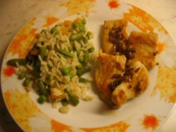Knoblauch Putenschnitzel mit Gemüsereis - Rezept