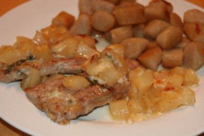 Schweinemedaillons mit Birne und Gorgonzola - Rezept