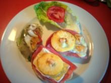 Frühstücksbrötchen mit Camembert überbacken - Rezept