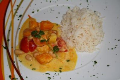 Pikantes Kürbisgemüse in Curry-Mango-Sauce - Rezept