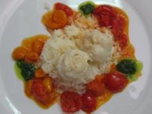 Seezunge an Physalis-Tomatenragout und Pistou - Rezept
