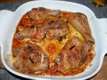 Hähnchenkeule mit Panne italiano - Rezept