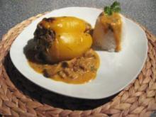 Gefüllte Paprika mit Champignons und Reis - Rezept