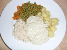 Seelachsfilet - Kräuter - Sauce mit wahlweise Gnocchi oder Reis und Gemüse - Rezept