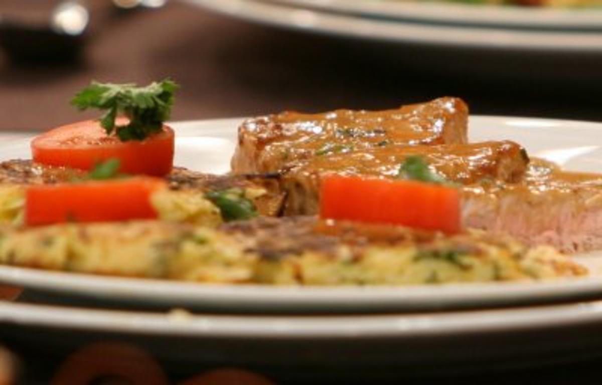 Schweinefilet mit r sti und rahmso e dazu feldsalat mit for Kuchen dietz fritzlar