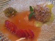 Lauwarmer Moelleux mit Zitronenthymian und marinierten Erdbeeren - Rezept