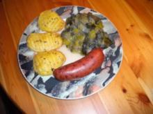 Winzerwurst mit Lauchgemüse und Tessiner-Kartoffeln - Rezept