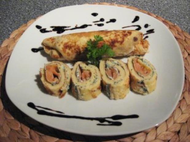 Pfannkuchen mit Dill-Frischkäse und Lachs - Rezept