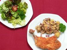 Steirisches Backhendl mit Kartoffelsalat und Salaten der Saison - Rezept