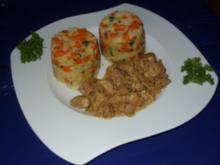 Filetgeschnetzeltes mit Gemüsereis und Senfsahnesoße - Rezept