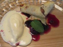 Schoko-Crêpes mit Vanilleeis und karamellisierten Kirschen - Rezept