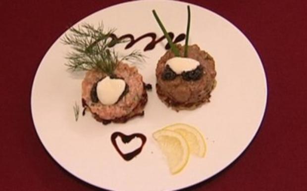 Röstis mit Fleischtartar, Lachstartar und Kaviar (Corinna Drews) - Rezept