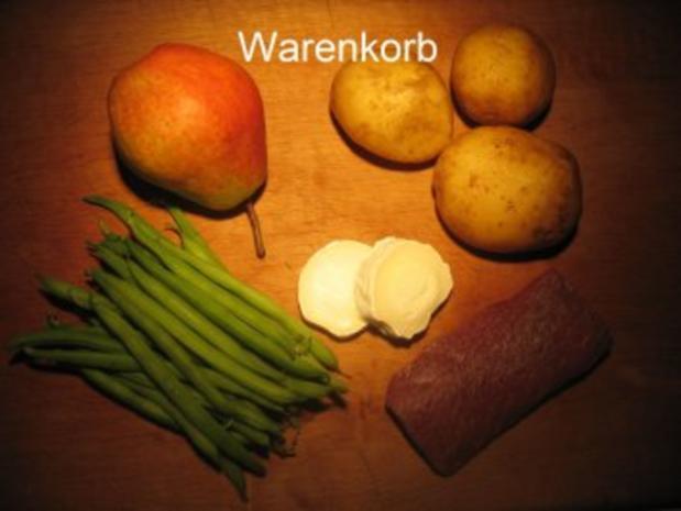 Kochduellrezept 3: lauwarmer Ziegenkäse mit Senf-Rosmarinkruste, Lammlachse mit Kartoffelwaffel und Bohnenbündel, Millefeuille von Karamell und Schokolade mit Gewürzbirne - Rezept - Bild Nr. 4