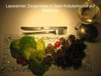 Kochduellrezept 3: lauwarmer Ziegenkäse mit Senf-Rosmarinkruste, Lammlachse mit Kartoffelwaffel und Bohnenbündel, Millefeuille von Karamell und Schokolade mit Gewürzbirne - Rezept