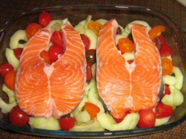 Lachssteaks auf Gurkengemüse mit Dillsauce überbacken - Rezept - Bild Nr. 7