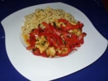 Putenfilets mit Paprikagemüse und Nudeln - Rezept