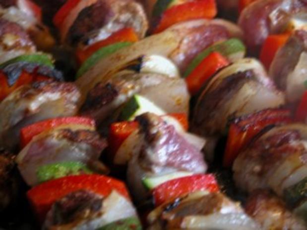 Schaschlikspieße mit Gemüse und Bulgur - Rezept