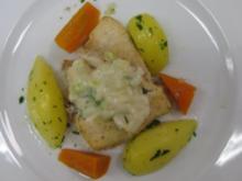 """Seezunge bretonisch mit Möhrenstiften """"Piräus"""" und kleinen Kartoffeln - Rezept"""