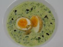 Brunnenkresse-Schaumsuppe mit gebackenem Ei - Rezept