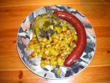 Saucisse de cerf, poireau au vin blanc et pommes de terre risolee - Rezept