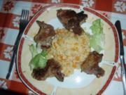 Kürbisrisotto mit Lammkoteletts und ein grüner Salat - Rezept