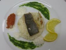 Bachsaiblingsfilet auf Fenchelrisotto und buntem Pesto - Rezept