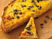 Pizzakatzes Kürbis -Fenchel-Quiche mit Weintrauben - Rezept