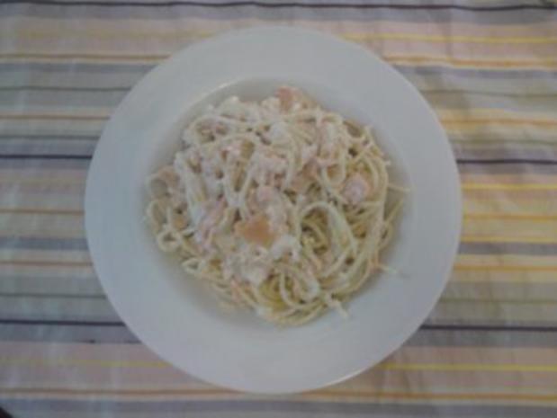 Spaghetti in Lachs-Sahne-Soße - Rezept