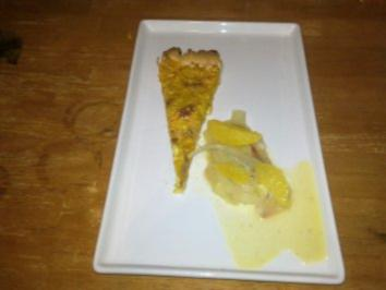 Rezept: Tarte vom Hokkaidokürbis mit Ziegenfrischkäse und Fenchel-Orangen-Ragout
