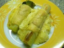 Lauchstangen im Käse- Schinkenmantel auf Kartoffelpüree - Rezept