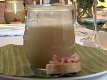 Birnenschaumsüppchen und Dominostein von der Entenbrust - Rezept