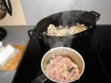 Fettuchini in 4erlei Käsesoße mit kleinen Prawns  s. Foto - Rezept