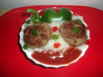 Räuber-Hackbällchen mit Konfetti-Reis - Rezept