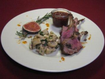 Lammkarree mit Pilzen an Feigen-Chutney - Rezept