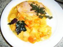 Kürbis-Kartoffel-Gemüse mit Kassler - Rezept