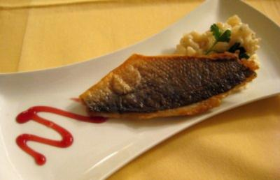 Dorade an Gorgonzola-Birnen-Risotto - Rezept