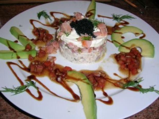 Tatar von Räucherforelle und Lachs mit Avocado (eine leckere Vorspeise auch für Gäste) gabs am v. Wochenende - Rezept
