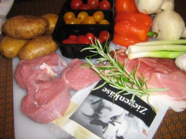 Kalbssteak im Speckmantel auf  Kartoffelgemüse überbacken. - Rezept - Bild Nr. 2