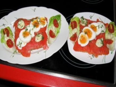 Frühstückstoast mit Wildlachs u. Ei - Rezept