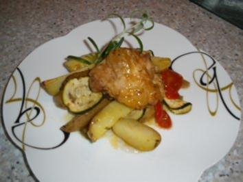 Gemüsehuhn aus dem Backofen - Rezept