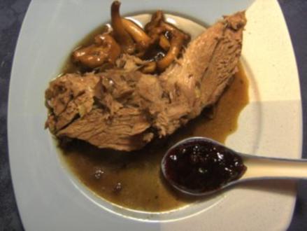 Fleisch: Zicklein in Portweinsoße mit Pfifferlingen - Rezept