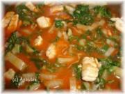 Hauptgericht deftig - Tomatensosse mit Mangold und Schweinefleisch - Rezept
