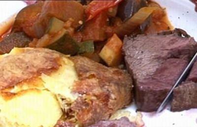 Rinderfilet mit Kartoffelgratin und Ratatouille-Gemüse - Rezept
