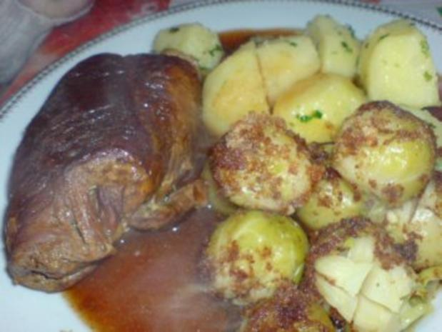 Rinderroulade mit Rosenkohl-Gemüse - Rezept