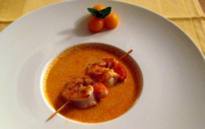 Geeiste Melonensuppe mit Garnelen - Rezept