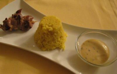 Saté von der Entenbrust an Mango-Pfeffersoße und gelbem Reis - Rezept